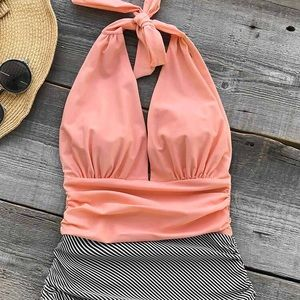 Coral and striped Cupshe swimsuit